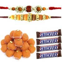 Send 0.5 Kg Motichoor Ladoo with 4 Snickers Chocolates and 1 Rakhi in Mumbai. Rakhi Gifts to Mumbai