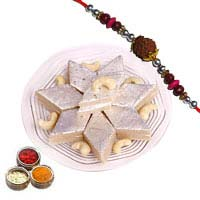 Online 0.5 Kg Kaju Barfi with 1 Rakhi. Exclusive Rakhi Gifts to Mumbai