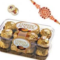 Best Rakhi Gift in Mumbai be made up of 16 Pcs Ferrero Rocher with 1Rakhi