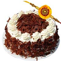 Online Rakhi Delivery to Mumbai contains 0.5 Kg Black Forest Cake with 1 Rakhi