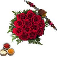 Send Rakhi Gifts to Mumbai that include 12 Red Roses Bunch with 1 Rakhi.