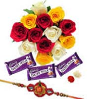 Chocolate Delivery in Mumbai with 12 Mix Roses Bunch with 3 Dairy Milk Chocolates and 1 Rakhi