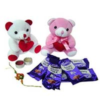 Send 5 Dairy Milk with two 6-inches teddy and 1 Rakhi to Mumbai on Rakhi