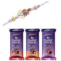 Deliver Rakhi to Mumbai with 3 Dairy milk silk 40gm. each with 1 Rakhi in Mumbai