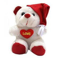 Online Order for Best Christmas Gifts in Nagpur that is Santa claus Teddy 12 inch With Cap
