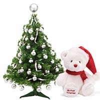 Purchase Online Christmas Gifts to Mumbai contains 3 Feet X Mas Tree with Teddy in Mumbai